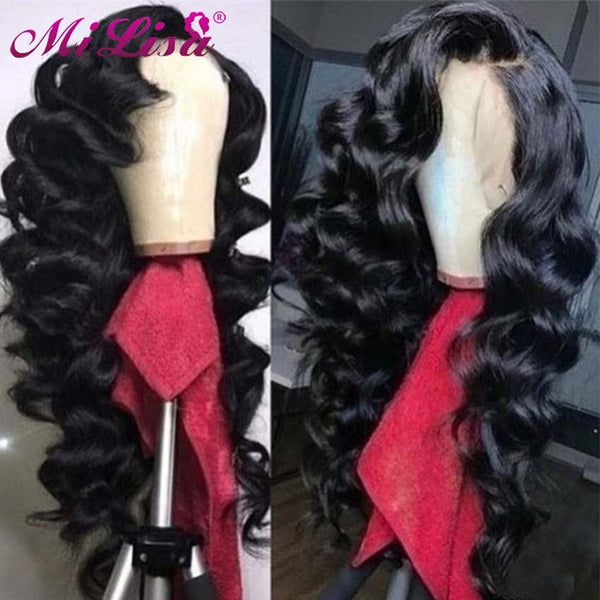 Loose Wave Remy Glueless Lace Frontal Human Hair Wig Preplucked