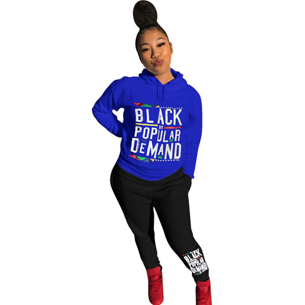 Black By Popular Demand Letter Print Women Set