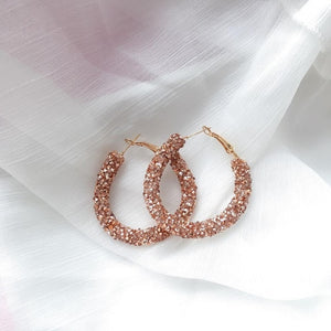 Design Fashion Charm crystal hoop earrings Round Shiny rhinestone