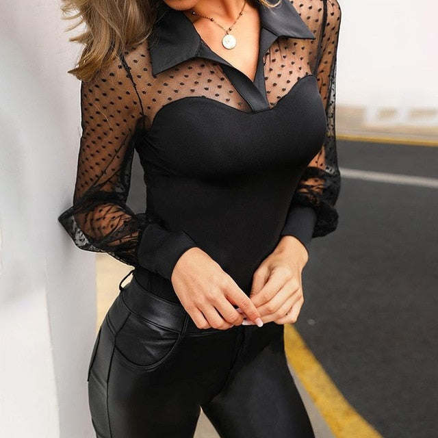 Sexy Women Lace Blouse Long Sleeve