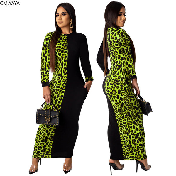 Women Fashion Leopard Print bodycon long Maxi sexy dress