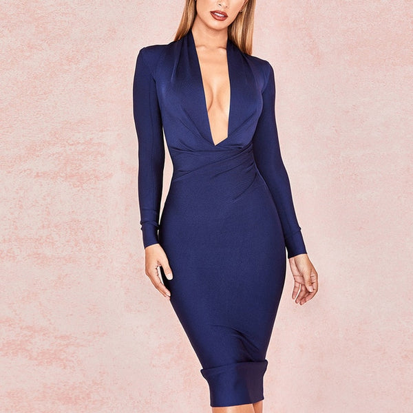 Deep V Neck Women Full Sleeves Bodycon Dress