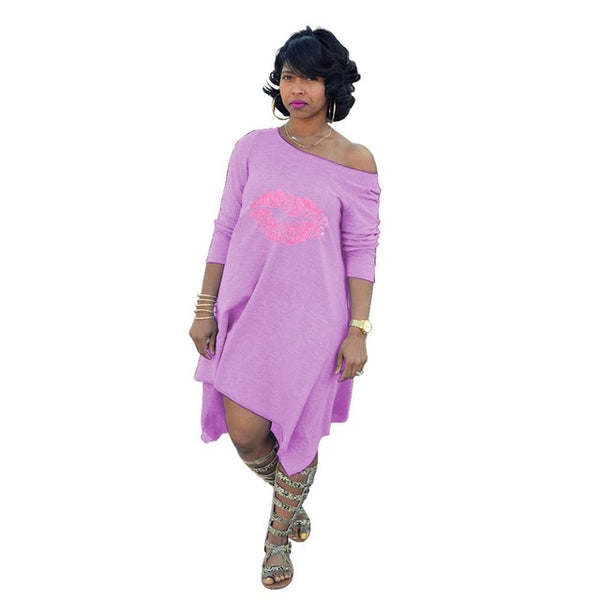 Style T-shirt Casual slant shoulder Ladies Dress