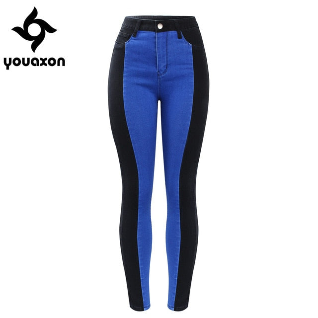 Youaxon High Waist Patched Jeans Woman Black & Blue Stretchy Denim Skinny Pants