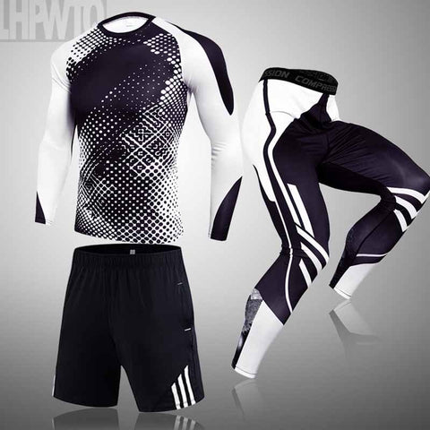 1-3-piece sets Compression Suits Men's Quick Dry set Clothes Sport Running MMA jogging Gym work out Fitness Tracksuit clothing