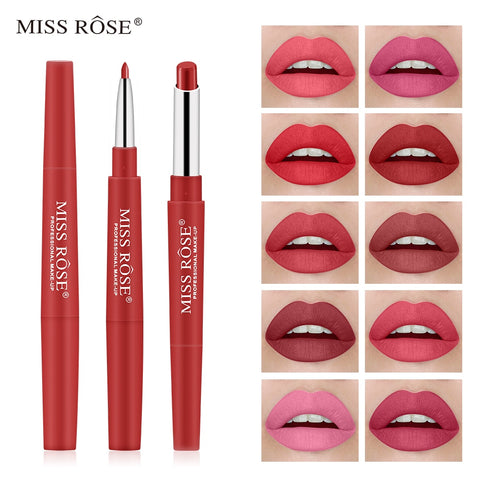 Miss Rose Matte 2 In 1 Waterproof Lipstick/Lipliner