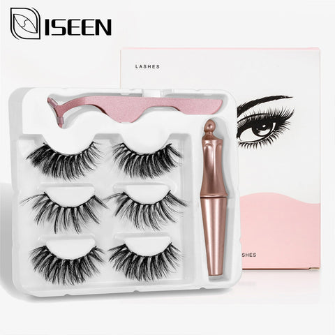 3D Magnetic False Eyelashes 3 pair Mink with Waterproof Liquid Tweezers Set