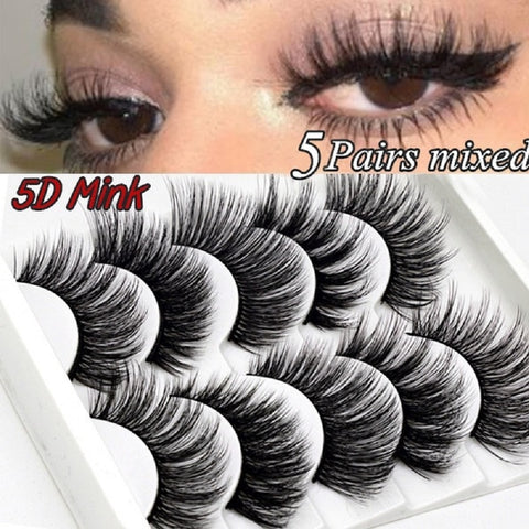5D Mink Eyelashes Natural False Eyelashes