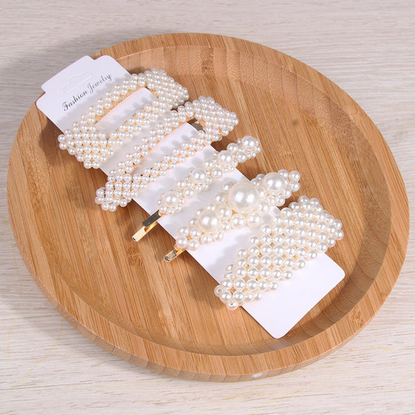 4-5Pcs/Set Fashion Pearl Hair Clip Snap Button Hair Pins