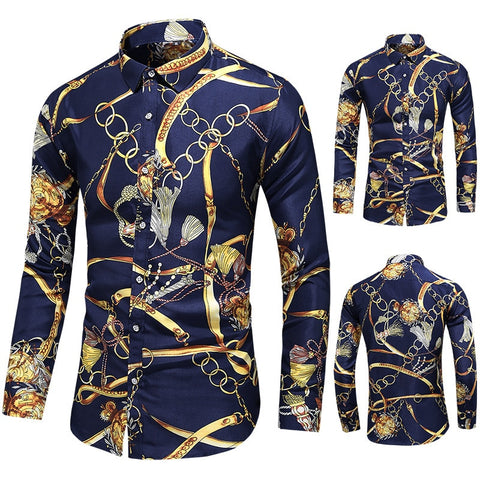 Men Casual New Fashion Print Long Sleeve Shirt Clothing