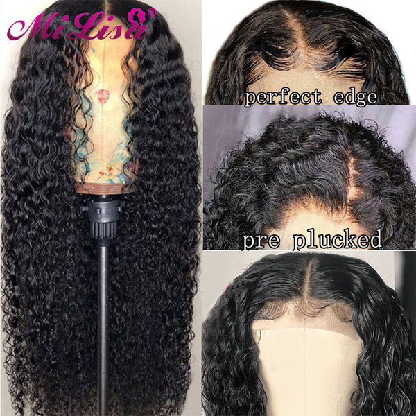 Curly Human Hair Pre plucked with Baby Hair Malaysian Remy Wig