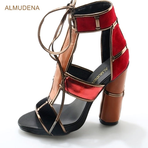 ALMUDENA Red Suede Thick Heel Shoes