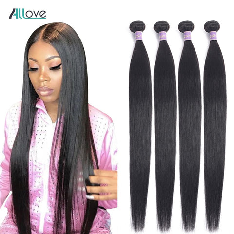 Allove Straight Hair Bundles Brazilian Hair 100% Human Hair 1/3/4 Pieces