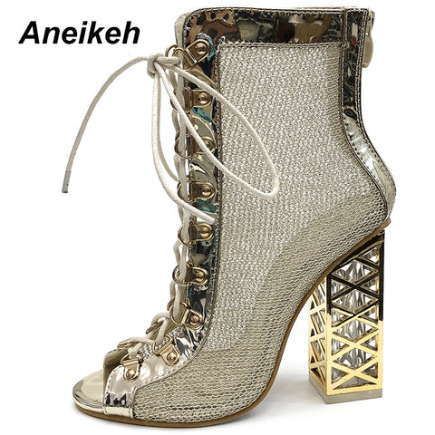 Aneikeh Sandal Sexy Bling Gladiator Sandal Lace-Up High Heel Boots