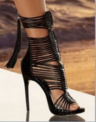 Tassel style cut-out leather stiletto high heels