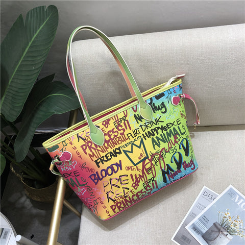 Graffiti Large Luxury Tote Shopping Purse Handbag
