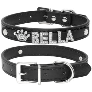 Bling Rhinestone Puppy Dog Collars Personalized Name Bella