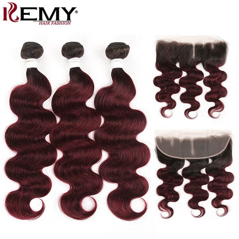 Brazilian Body Wave Hair Bundles With Frontal Closure