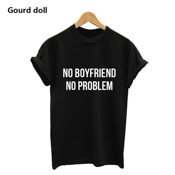 Cactus Printed Women or No Boyfriend No Problem T-Shirt