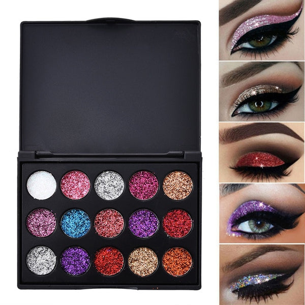 15 Color Studio Shimmer Glitter Eyeshadow Powder Palette Matte Makeup