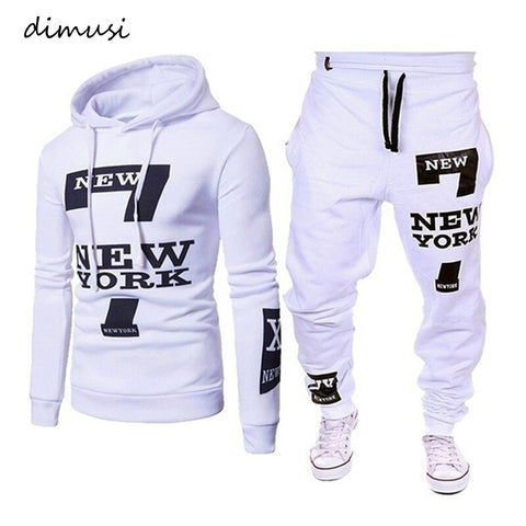 DIMUSI Men Sport Set Fashion Sweatshirt +Sweatpants Suit Casual 2 Pcs Sets Slim Fit Tracksuit hoodies Mens Clothing