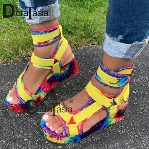 DORATASIA Ladies Platform Gladiator Hot Colorful Wedge Sandals