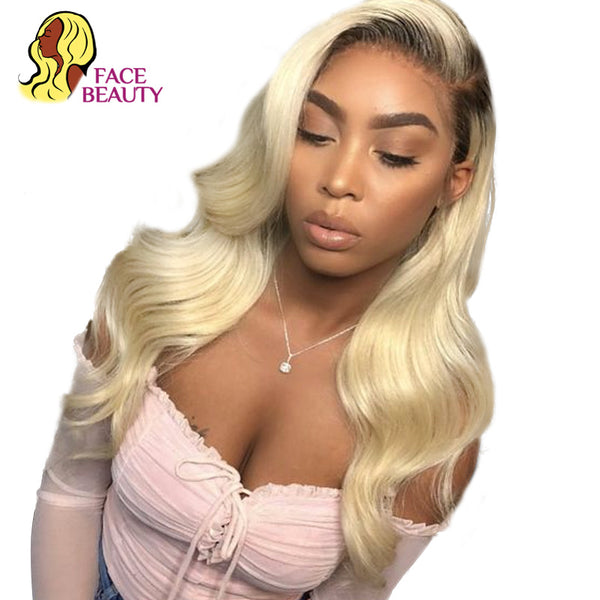 Facebeauty Long Remy Brazillian Body Wave Lace Front Wig 1B/613 Ombre Blonde Colored Preplucked Lace Wig Human Hair