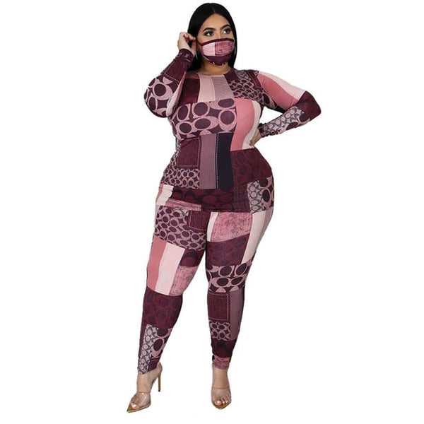 Plus Size Clothing 2 Piece Set Stretch Top and Pants Outfit Matching Set