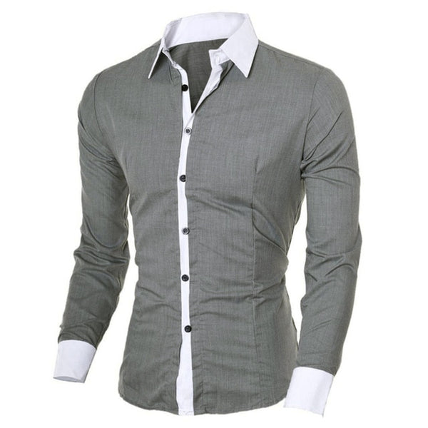 Fashion Men Slim Long-sleeved Causal Shirt