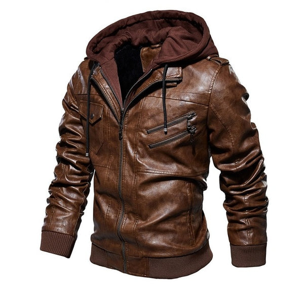 Men Jacket Hooded Coat or Slim Fit Windproof Warm Top
