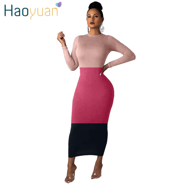 HAOYUAN Casual Maxi Long Sleeve Fashion Dress