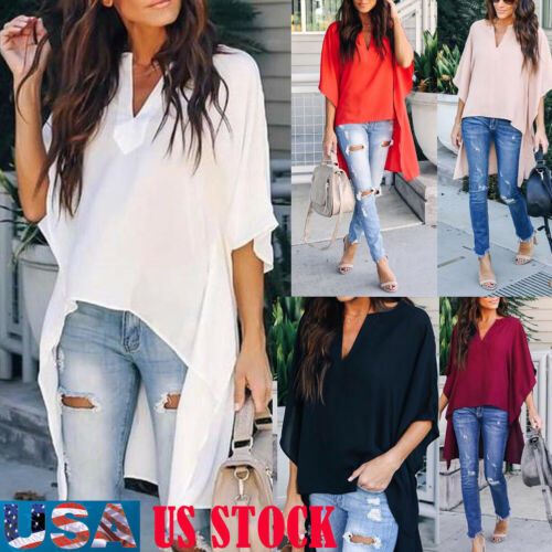 Women Blouse Elegant V-Neck soft Casual Half sleeve Top Shirt