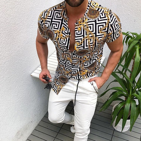 New Men's Clothing Casual Fashion Printed Shirt Cardigan Short Sleeve Shirt
