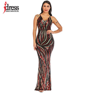 Sexy Graceful V Neck Sequin Maxi evening Dress
