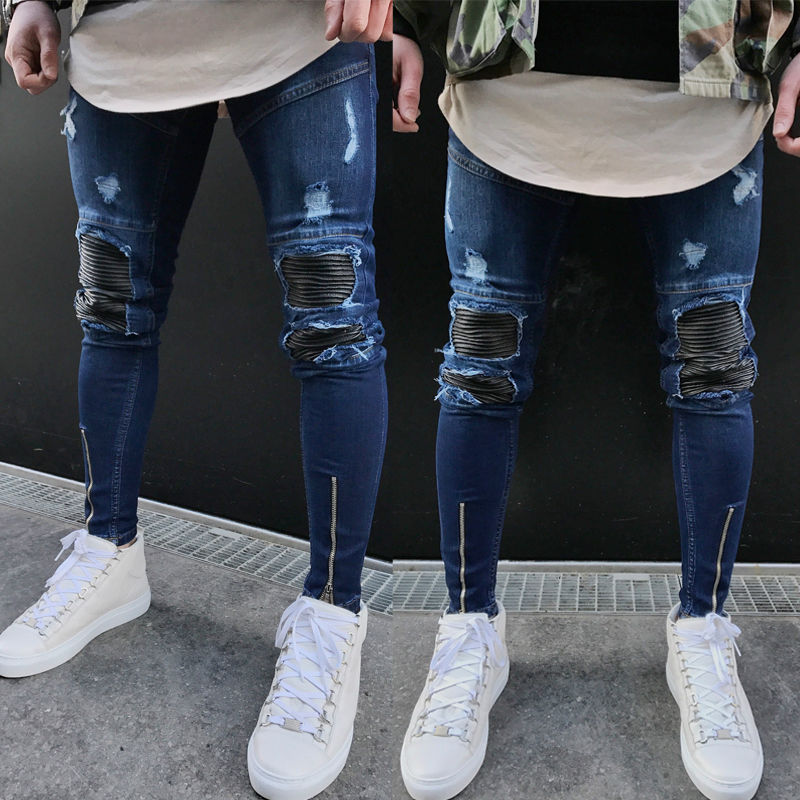 Men Washed Ripped Jeans Straight Leg