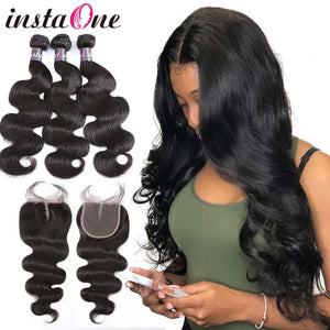 InstaOne 7A Brazilian Bundles With Lace Closure Raw Virgin Body Wave