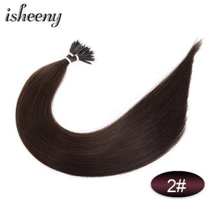 "Isheeny 14"" 18"" 22"" Remy Micro Beads Hair Extensions In Nano Ring Links Human Hair Straight  9 Colors Blonde European Hair"