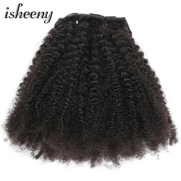 "Isheeny 8pcs/set Afro Kinky Curly Wave Human Hair Clip In Hair Extensions 12""-20"" Natural Color Middle Thick Remy Hair"