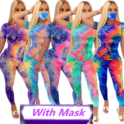 Women Short Sleeve O Neck Top Long Pants 2 Pieces Set with Mask