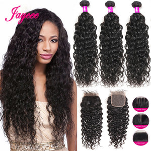Jaycee Water Wave 3 Bundles With Closure Brazilian Hair Weave