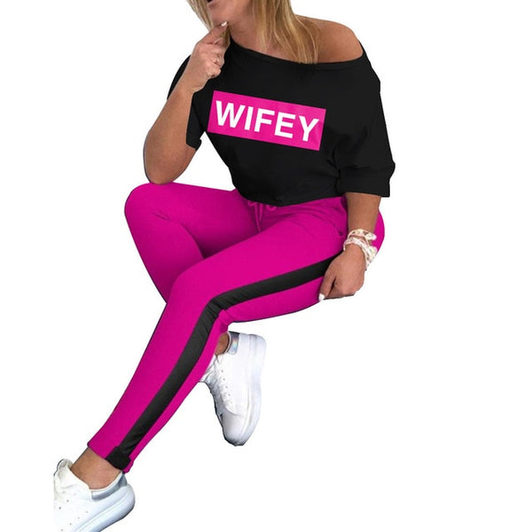 Wifey Letter Print Women Tee Top Two Piece Set Outfit