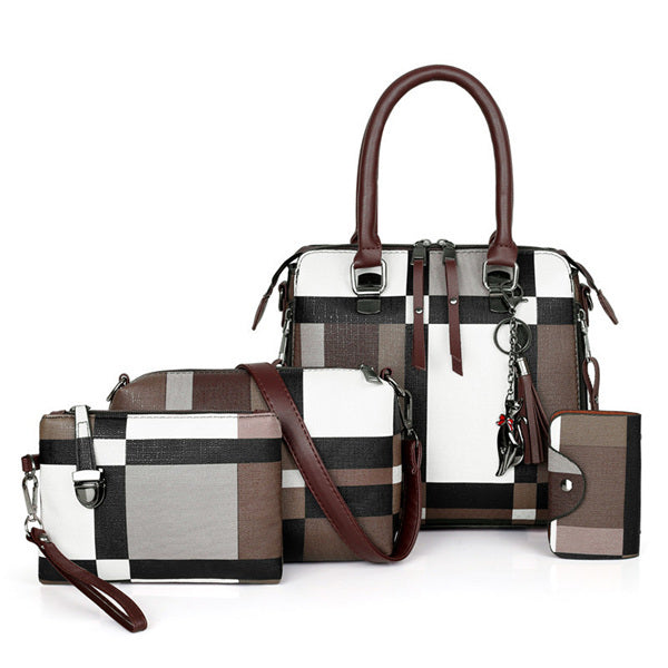 Luxury Handbags Plaid Set 4 Pieces