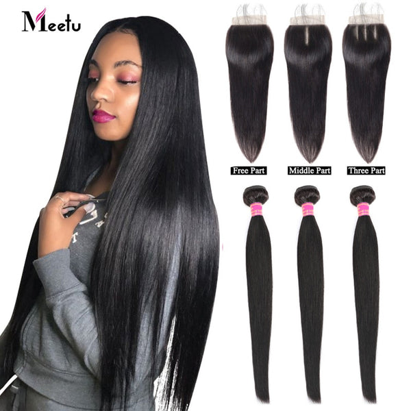 Meetu Malaysian Bundles with Closure Straight Hair