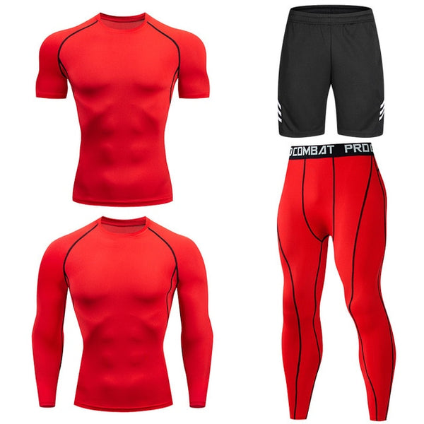 Men Tracksuit Sports Suit Gym Compression Clothing Fitness Running Set Jogging Sportwear Long Sleeves Shirt