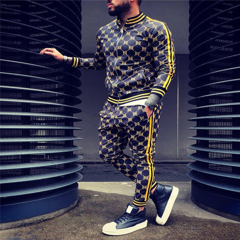 Colorful Plaid Men Sport Zipper suit Set