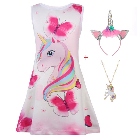 Girl Butterfly Unicorn Sleeveless Dress