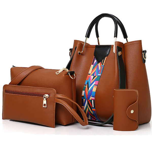 OCARDIAN Women Handbag 4Pcs Printing Retro Pattern Solid Color