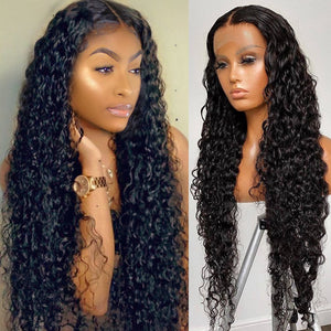 Long Inch Water Wave Lace Front Brazilian Human Hair For Women Lace Frontal Closure Wig