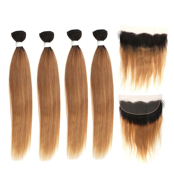 Human Hair Bundles With Frontal Brazilian Straight Hair With Closure