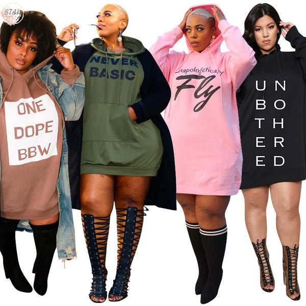 Plus Size Dresses for Women Letter Print Hoodie Loose Mini Dress Sweater